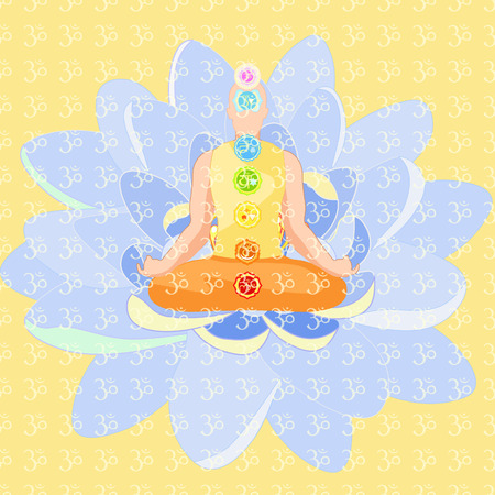 sanskrit: man sitting in lotus position meditating with chakra. vector illustration Illustration
