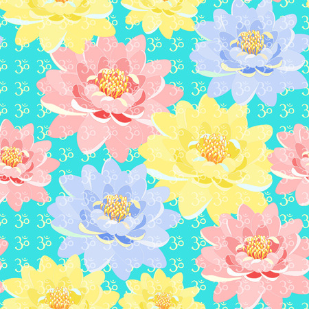 sanskrit: seamless pattern a lotus  meditating. vector illustration Illustration