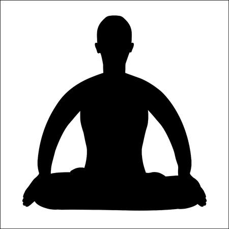 sanskrit: coloring  man sitting in lotus position meditating vector illustration Illustration