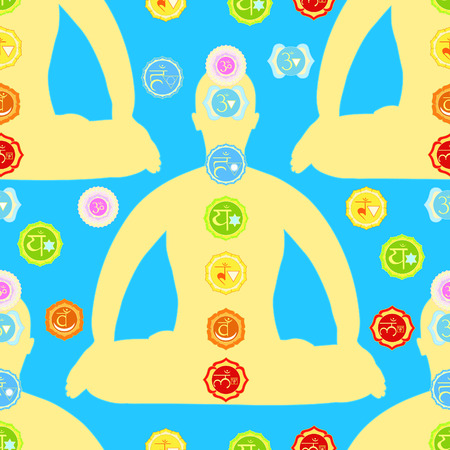 seamless pattern man sitting  lotus position meditating with chakra. vector illustration