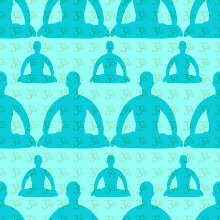 seamless pattern man sitting in lotus position meditating on blue vector illustration