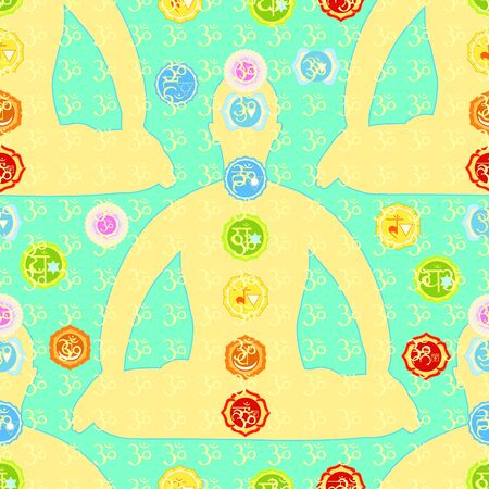 seamless pattern man sitting in lotus position meditating with chakra. vector illustration