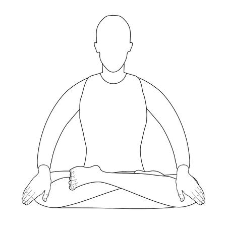man sitting in lotus position meditating. vector illustration