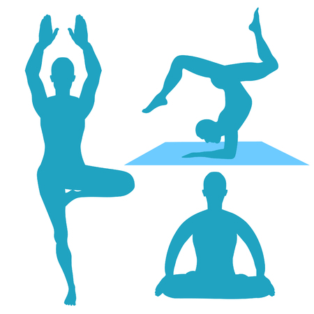 vishuddha: People stand, exercise, meditation, lotus set. vector illustration