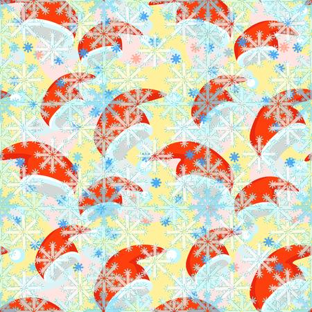 modèle sans couture un rouge de chapeau de père Noël, illustration vectorielle de flocon de neige Vecteurs