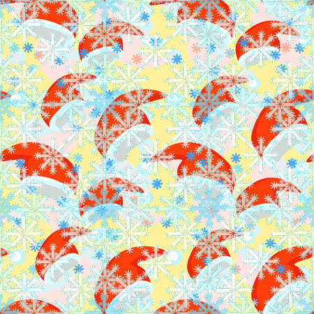 seamless pattern a red  of Santa Claus hat , snowflake vector illustration