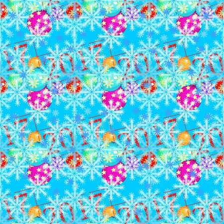 modèle sans couture ornements d'arbre de Noël boules flocon de neige. illustration vectorielle Vecteurs
