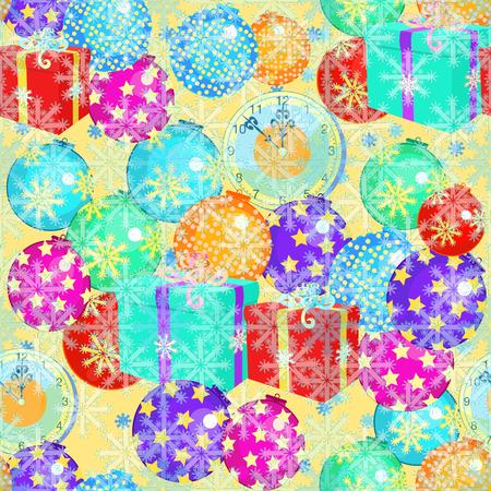 modèle sans couture boules d'ornements d'arbre de Noël, illustration vectorielle de cadeaux flocons de neige