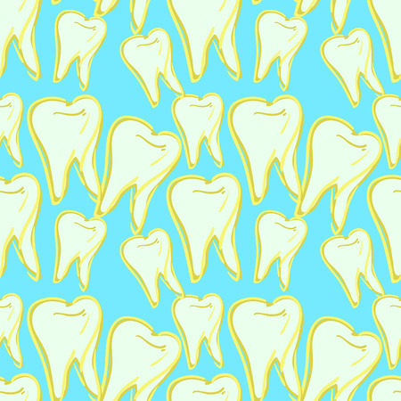 seamless pattern dentistry tooth close up picture on blue vector illustration