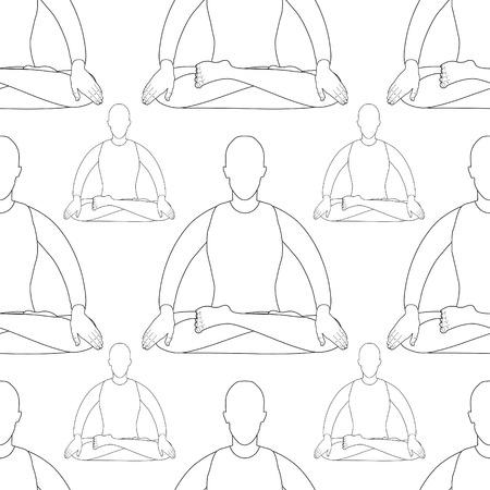 vishuddha: seamless pattern man is stand meditating coloring vector illustration