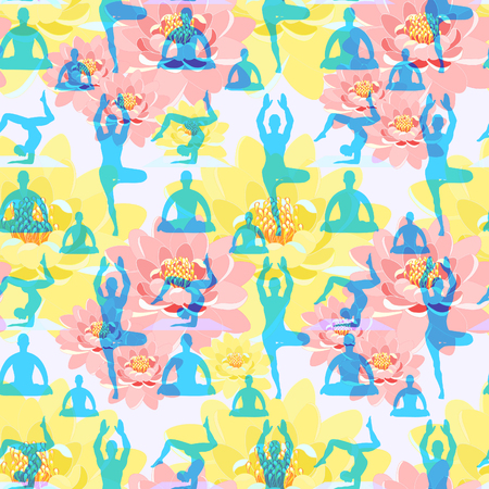 vishuddha: seamless pattern man standing, exercise, meditation, lotus flower vector illustration Illustration