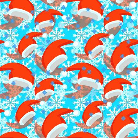 modèle sans couture de chapeau de père Noël rouge, illustration vectorielle de flocon de neige
