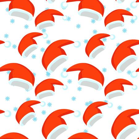 modèle sans couture chapeau de père Noël et flocon de neige. illustration vectorielle