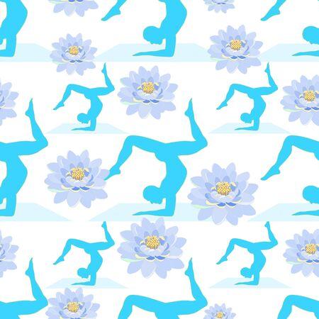self training: seamless pattern Yoga male silhouette  lotus training vector illustration