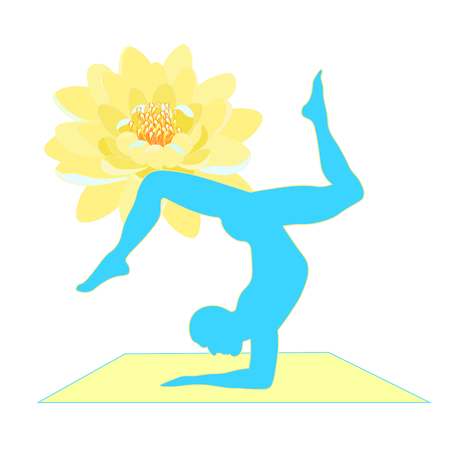 Yoga male legs up silhouette with lotus training vector illustration