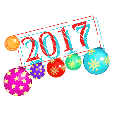 Nouvel an avec des boules de Noël décorations vector illustration