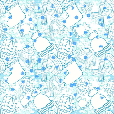 seamless pattern hat, mittens, boots, scarf winter snowflake vector illustration Illusztráció