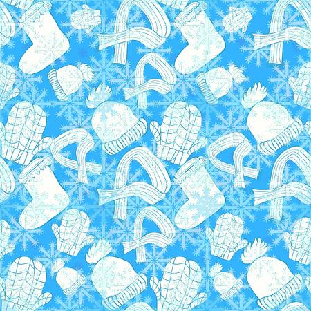 seamless pattern hat, mittens, boots, scarf winter snowflake. vector illustration Illusztráció