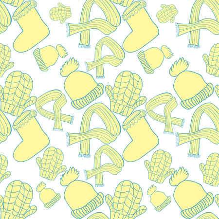 seamless pattern hat, mittens, boots, scarf winter yellow vector illustration Illusztráció