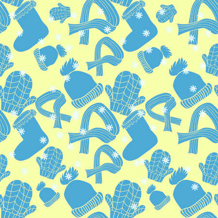 seamless pattern hat, mittens, scarf winter vector illustration