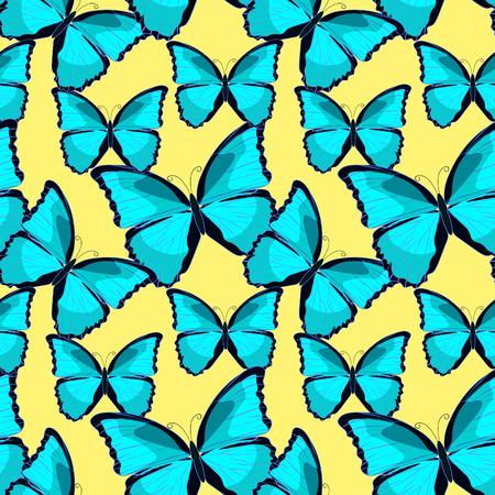 morpho: seamless pattern the butterfly blue morpho monarch vector illustration Illustration