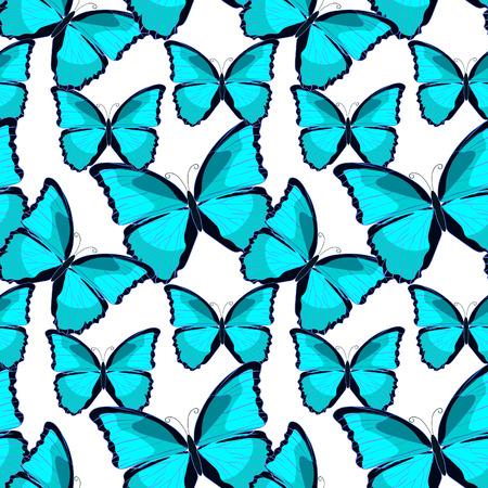 morpho: seamless pattern the butterfly blue morpho monarch. vector illustration Illustration