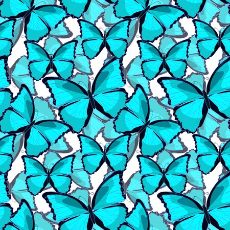 morpho: seamless pattern a butterfly blue morpho monarch. vector illustration