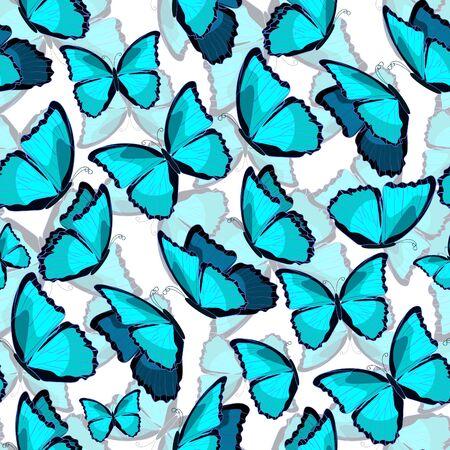 morpho: seamless pattern the butterfly blue a morpho monarch. vector illustration Illustration