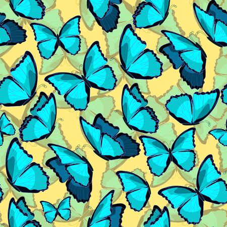 morpho: seamless pattern the butterfly blue morpho monarch  yellow. vector illustration