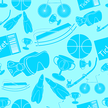 seamless pattern a bicycle ball, basketball sports blue .vector illustration