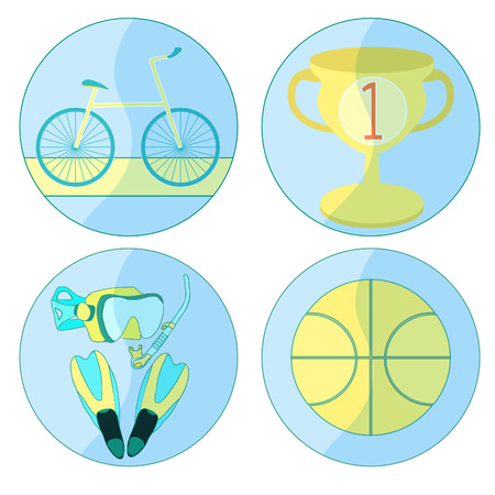 set a icon  bicycle ball, basketball sports orange vector illustration Illustration