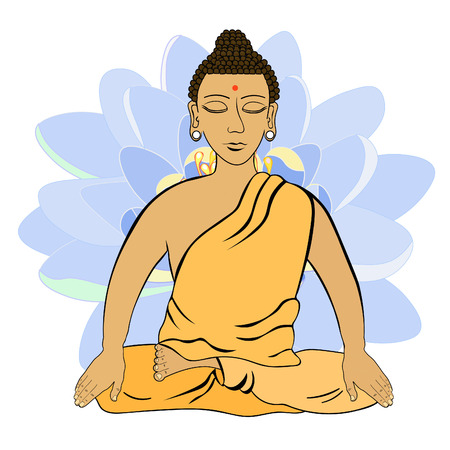 Buddha sitting in the lotus flower Indian meditation closed eyes . vector illustration Illustration