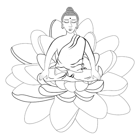 Buda Sentado Con Flor De Loto Indio Meditación Ojos Abiertos Para ...