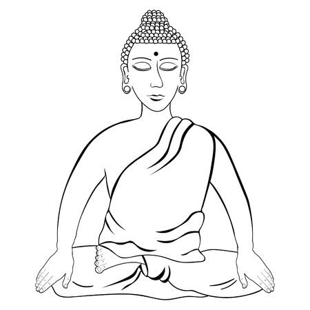 La Meditación India Principal De Buda Cerró Los Ojos Para Colorear ...