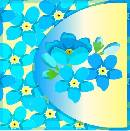 wild flower: card of forget-me-alpine a wild flower on yellow . vector illustration Illustration
