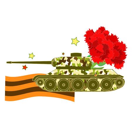 Carnation Tank Defender of the Fatherland Day  vector illustration