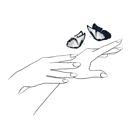 morpho: hands care female girl coloring and blue morpho, monarch butterfly graphic. vector illustration Illustration