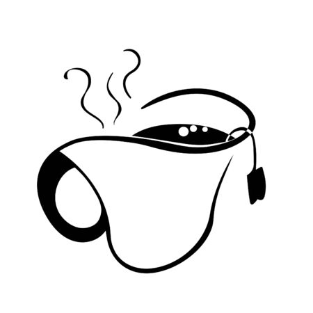 hot tea easy silhouette of the vector illustration