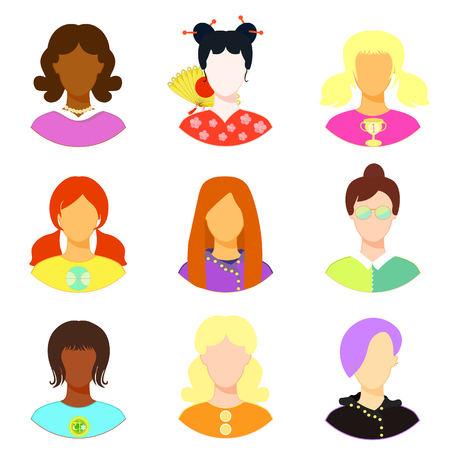 emo: set of woman, girl japan, punk  emo, teacher vector illustration Illustration