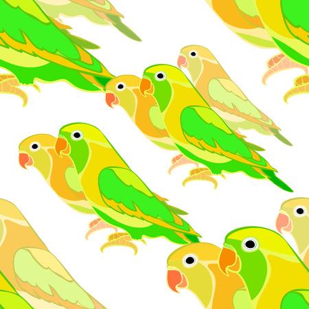 seamless pattern a  lovebirds parrot   vector illustration