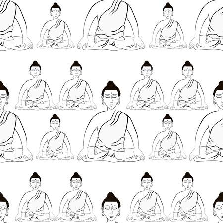Buda Sentado En La Flor De Loto Meditación India Ojos Cerrados Para
