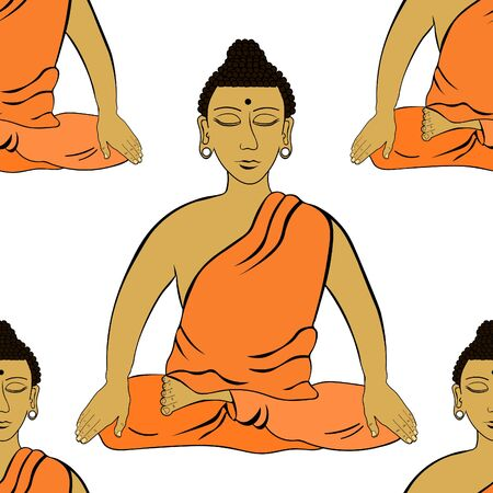 seamless pattern Buddha sitting in orange clothes the lotus Indian meditation closed eyes  vector illustration Illustration