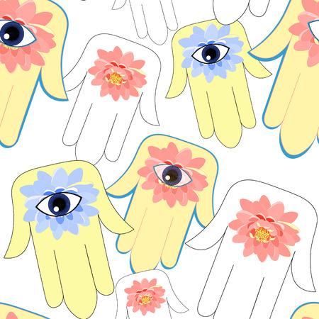 seamless pattern god hamsa hand symbol Eye Islam . vector illustration