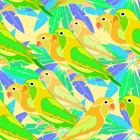 naadloze patroon lovebirds papegaai op palm vector illustratie Vector Illustratie