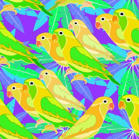 lovebirds: seamless pattern lovebirds parrot  on  palm tree at night  vector illustration