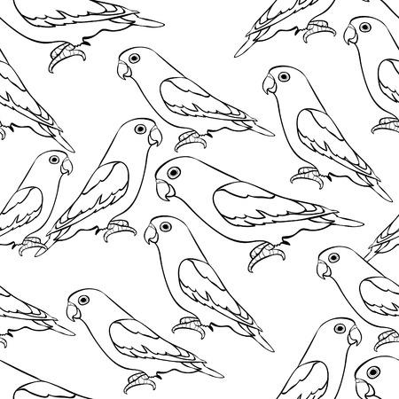 naadloze patroon lovebirds papegaai met rode bek kleuring. vector illustratie Vector Illustratie