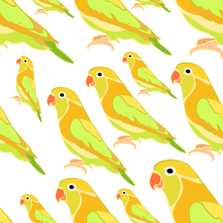 seamless pattern lovebirds parrot with a red beak  vector illustration