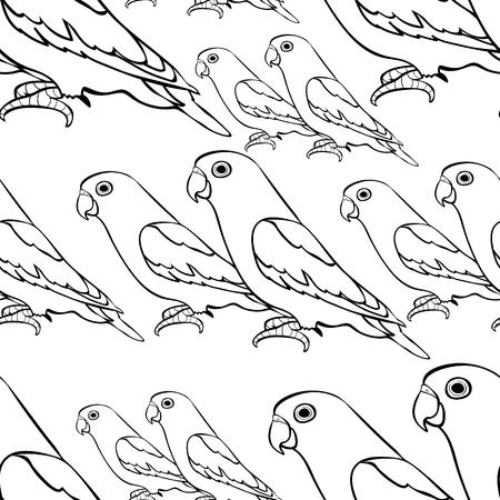 naadloze patroon lovebirds papegaai met een rode bek kleuring. vector illustratie Vector Illustratie