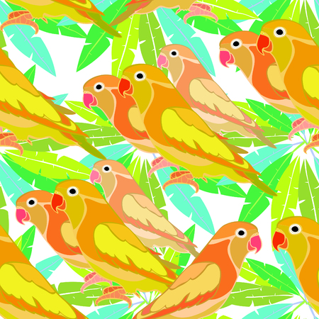 seamless pattern lovebirds parrot with a red beak on a palm tree  vector illustration