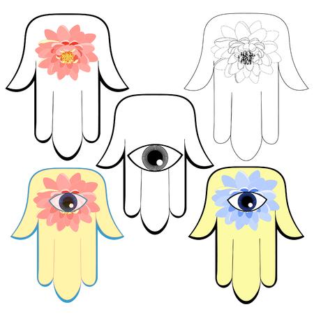set god hamsa hand symbol lotus  Islam  vector illustration Illustration